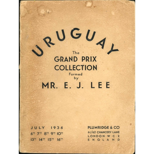26 - PLUMRIDGE & CO.: Uruguay- The E J Lee Grand Prix Collection held on 6th – 16th July 1936. Cover stai...