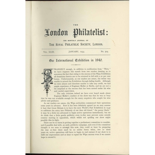 39 - THE LONDON PHILATELIST; Vols 43-69 (1934-60) complete and uniformally  bound plus post-WWII run of t...