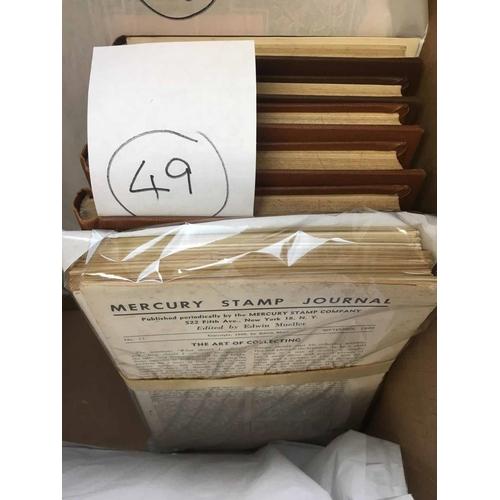 40 - MERCURY STAMP JOURNAL  Vols 1-5 (hardbound) + nos 61 & 62. 1947-1962. A complete run of this importa...