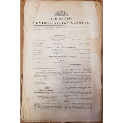 55 - BRITISH CENTRAL AFRICA / NYASALAND GOVERNMENT GAZETTES  from 1902-7, 1911-15, & 1918-21, plus Uganda...