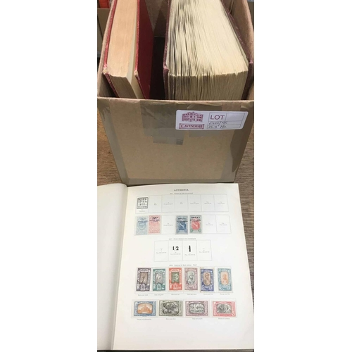 26 - CARTON holding 2 SG 'Ideal' printed albums with the collection of mainly foreign issues c.1915-30 an...