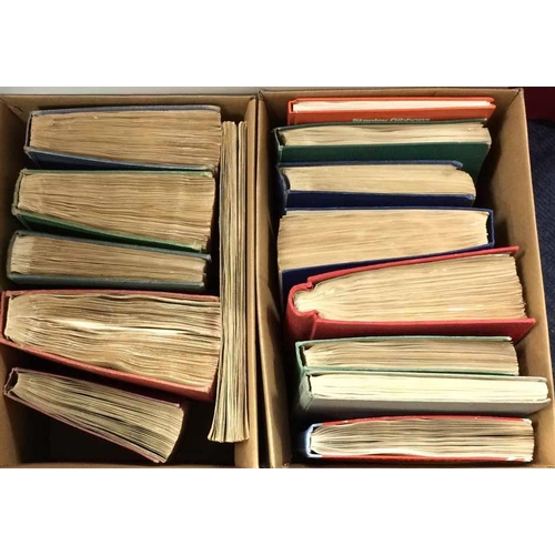 9 - TWO CARTONS - FOURTEEN c1940s OR LATER ALBUMS - all World albums; very mixed condition. (Qty.)...