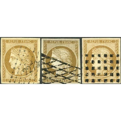 15 - 1849-52 CERES - 10c BISTRE (SHADES) USED TRIO - three good to fine used examples, one with slight co...