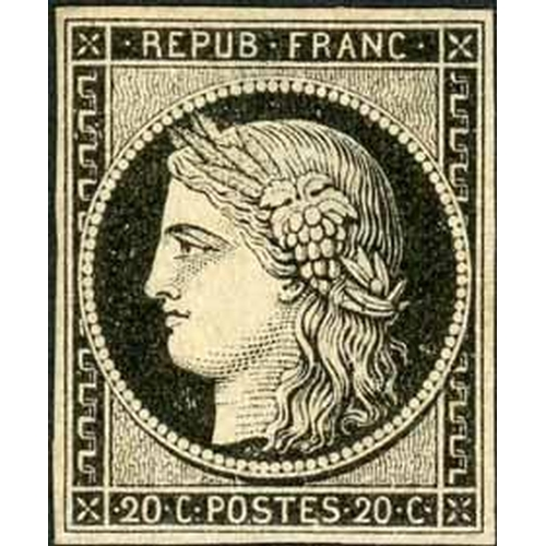17 - 1849-52 CERES - 20c BLACK - an unused example with thin and possibly the bottom margin added? plus f...