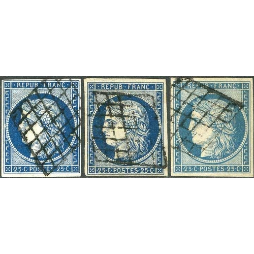 18 - 1849-52 CERES - 25c BLUE & 40c ORANGE - 25c three used, good to fine appearance, one thinned; 40c on...