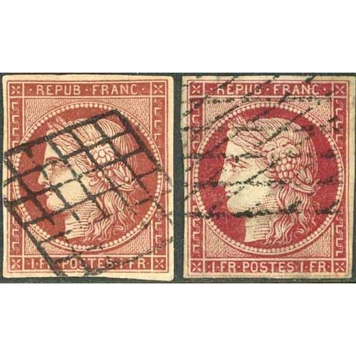 19 - 1849-52 CERES - 1f CARMINE/CARMINE-BROWN - used examples, 1f carmine-brown of fine appearance though...