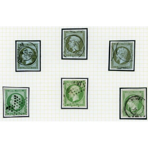 21 - 1853-61 EMPIRE IMPERF - 1c, 5c & 10c USED GROUP - 1c olive/bronze (3), 5c green (3) and 10c bistre (...