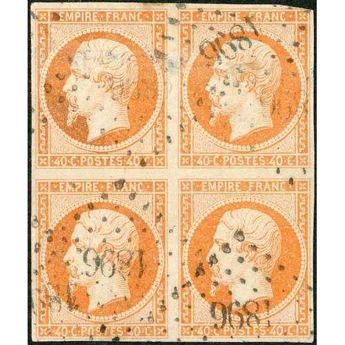 22 - 1853-61 EMPIRE IMPERF - 1c bronze used block of four, just shaved at left end of base else fine. Als...