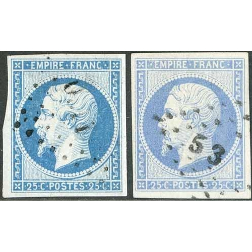 23 - 1853-61 EMPIRE IMPERF - 25c DULL BLUE PLUS 20c BLUE (SHADES) GROUP - 25c two used examples both of f...