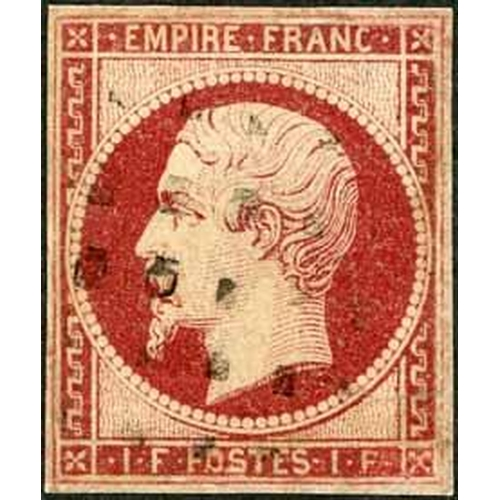 24 - 1853-61 EMPIRE IMPERF - 40c ORANGE & 80c CARMINE/ROSE GROUP - 40c four singles and a strip of three ...