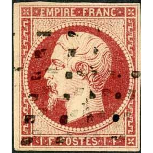 25 - 1853-61 EMPIRE IMPERF - 1f CARMINE USED - good to fine used four margin example. RPSL Cert (2002). V...