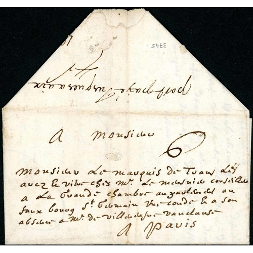 54 - EARLY MANUSCRIPT PAYMENT ENDORSEMENT; 27 Oct. 1687 EL (minor faults) to Paris ex Draguignan endorsed...