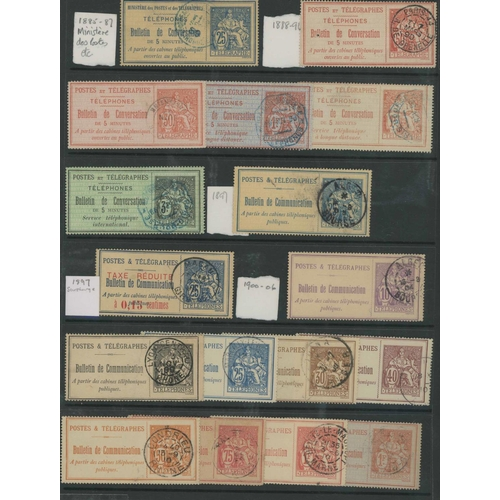 32 - TELEPHONE STAMPS - a good selection and range of used examples (c.1885 to c.1906) with no duplicatio...