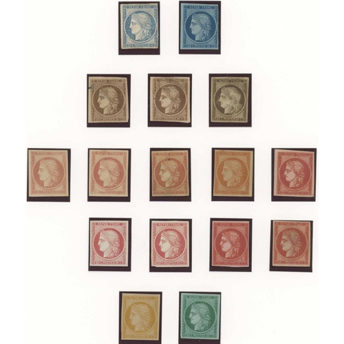 33 - TWO PAGES OF CERES TYPE COLOUR TRIALS & ESSAYS - c.1849. Designed and engraved by J.J.Barre. Page 1 ...