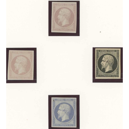 38 - COLOUR & PRODUCTION TRIALS of perf. & imperf. issues c.1854, 1862, 1865 & 1869. Examples of type 1 p...