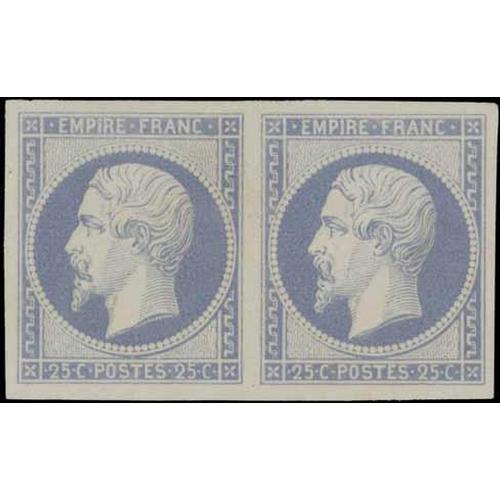 43 - ESSAYS & REPRINTS - Imp.pair c.1864 in fugitive ink (blue, 0c). Also c.1862, 'Sir Roland Hill' repri...
