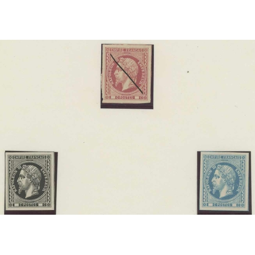 46 - SECOND EMPIRE UNADOPTED ESSAYS - Three colour essays of 1867 based on the 'Laureated' issue of 1862 ...