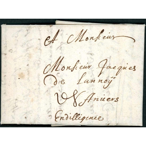 53 - MAIL TO ANTWERP UNDER THE 1679 PARIS AGREEMENT; Trio with 13 Oct. 1694, 6 July 1695 and 22 July 1703...