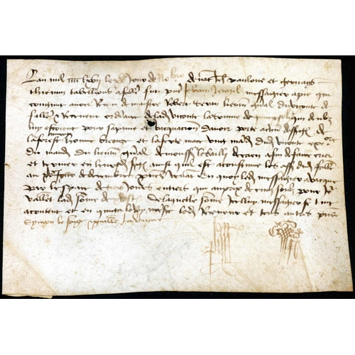 55 - MESSENGER SERVICE OF THE MIDDLE AGES; 15 Nov. 1467 Parchment (few faults) receipt for 15 sols for th...