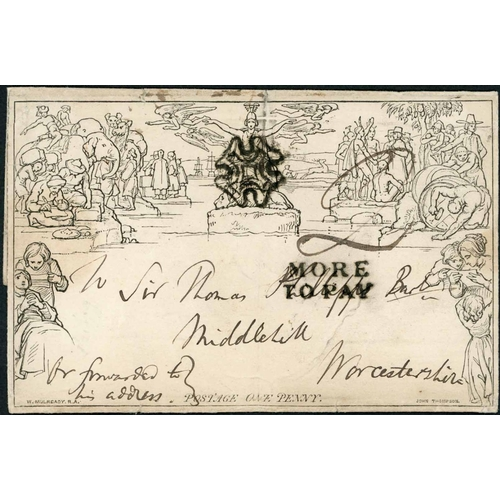1030 - 24 MAR. 1841 - 1d LETTERSHEET USED FROM SCOTLAND & 'MORE TO PAY' - unknown stereo (two tears in uppe...