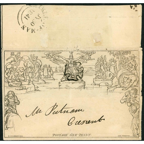 1033 - 30 JULY 1841 - 1d LETTERSHEET USED WITHIN ISLE OF MAN - stereo A5 (faults inc. splitting) simply add...