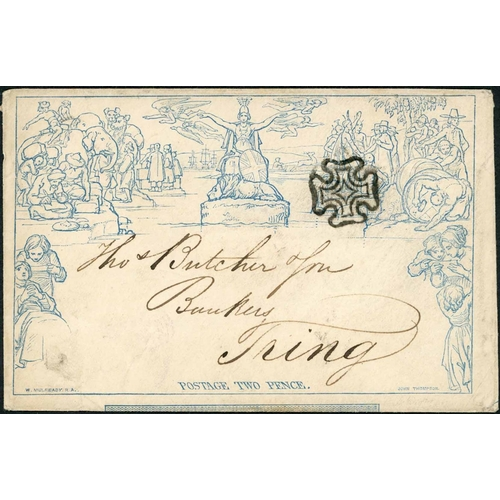 1035 - 25 SEP. 1841 - 2d ENVELOPE USED TO TRING CANCELLED CONTRARY TO REGULATIONS - stereo a196 used from L...