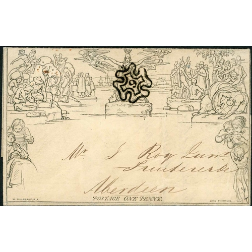 1044 - 9 DEC. 1843 - 1d LETTERSHEET TO SCOTLAND CANCELLED WITH SUPERB LONDON NUMBERED MX - fine stereo A47 ...