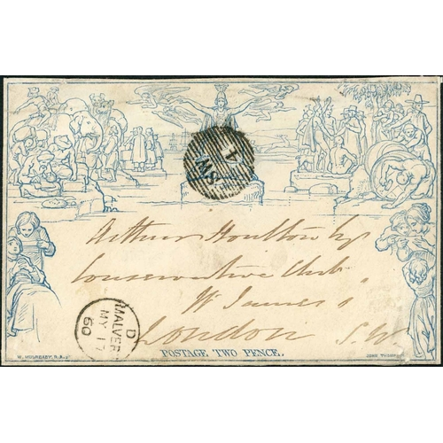 1045 - 17 MAY 1860 - LATE USED 2d ENVELOPE FROM MALVERN - stereo a208 (one flap missing) to London from Mal...