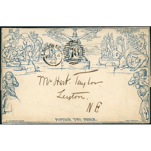 1047 - 14 FEB. 1862 - 2d LETTERSHEET LATE USED WITHIN LONDON - fine stereo a96 cancelled with a v fine Lond...