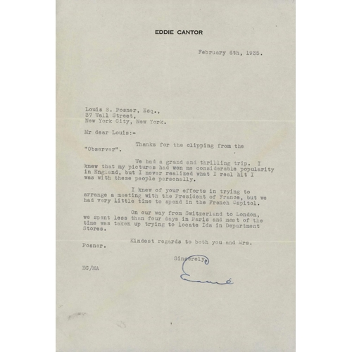 1 - EDDIE CANTOR: 6 Feb 1935 typed and signed letter and original cover addressed  to Louis Posner, New ...