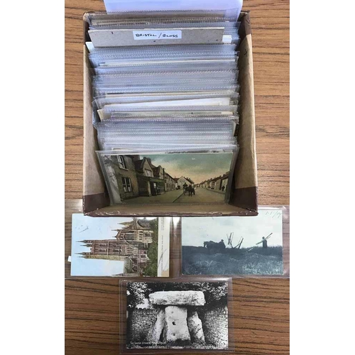 11 - SOMERSET, BRISTOL & GLOUCESTERSHIRE POSTCARDS - Small box containing a collection of ex-dealer's sto...