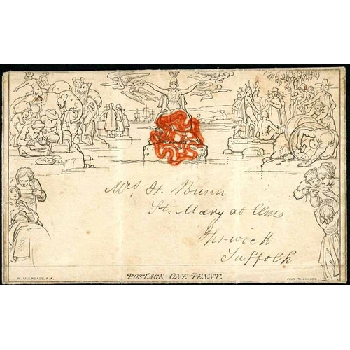 28 - 1 SEPT. 1840 - ECCENTRIC 'ENVELOPE-LIKE' FOLDED 1d LETTERSHEET WITH RED MX; 1 Sept. 1840 usage of th...