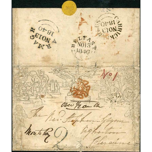 30 - 13 NOV. 1840 - 1d LETTERSHEET USED WITHIN IRELAND, TAXED AND WITH 'ROWLAND HILL' WAFER SEAL - stereo...