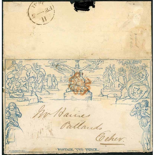 32 - 5 FEB. 1841- 2d LETTERSHEET USED TO ESHER - unknown stereo (significant reinforcement to edge splits...