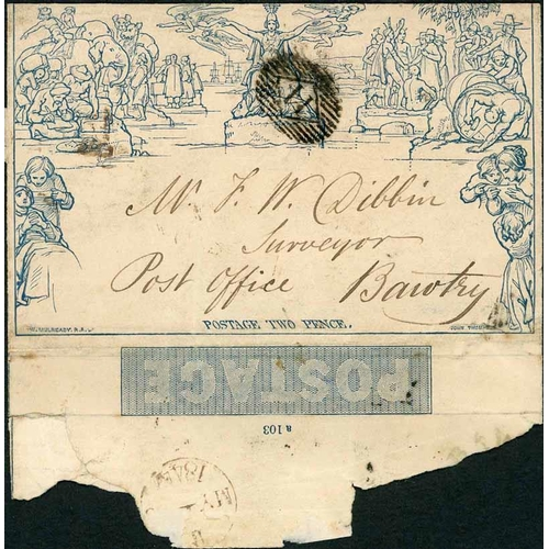 36 - MAY 1844 - RARE EARLY 1844 CANCEL ON 2d LETTERSHEET - stereo a103 (opening faults, small tear at low...