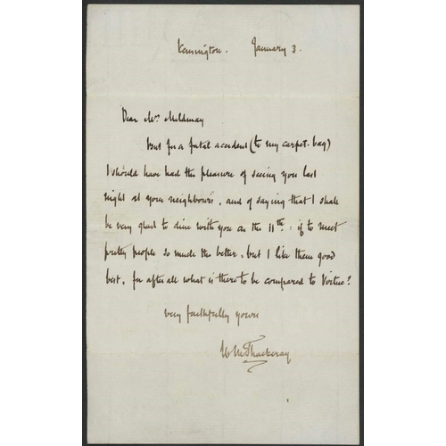 4 - WILLIAM M. THACKERAY: Single page letter dated