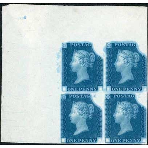 52 - RAINBOW TRIAL STATE 3 CORNER BLOCK OF FOUR IN DEEP BLUE - very fine on white wove paper dipped in pr...
