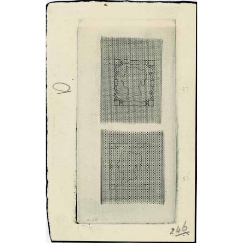 53 - RARE 1860s? PERKINS BACON ESSAY OF ENGINE-TURNED BACKGROUNDS WITH ENGRAVED OUTLINE OF STAMP DESIGN -...