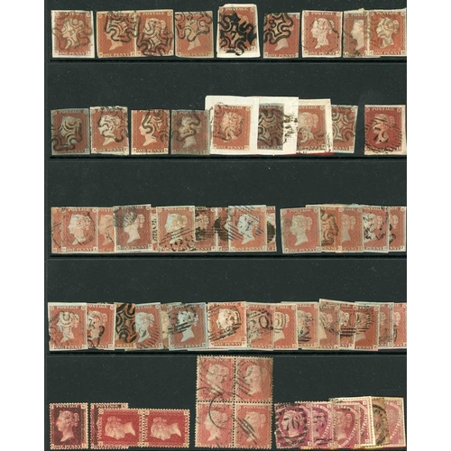 58 - MOSTLY ½d & 1d MIXTURE ON STOCKPAGES - strength is in 1841 1d red (45 a pair and 2 strips of four), ...