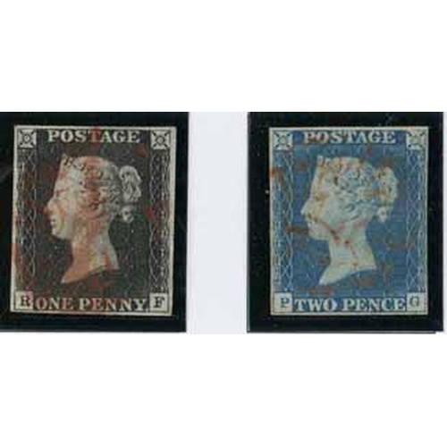 59 - 1840-64 SELECTION - on simplified printed album page, inc. 1840 1d black & 2d blue (both sound, four...