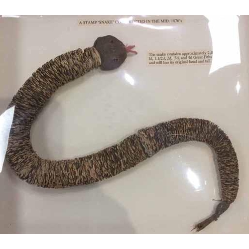 9 - c1870/80 STAMP/PAPER SNAKE - remarkable creation made with approx. 2000 GB stamps threaded into snak...