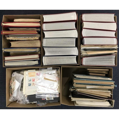 1002 - FIVE CARTONS - FOREIGN: The extensive collection of early to modern worldwide mint & used stamps & c...