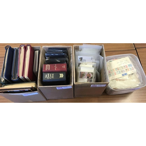 1008 - THREE CARTONS & PLASTIC TUB with the accumulation of albums, Worldwide stamps in packets, on leaves,...