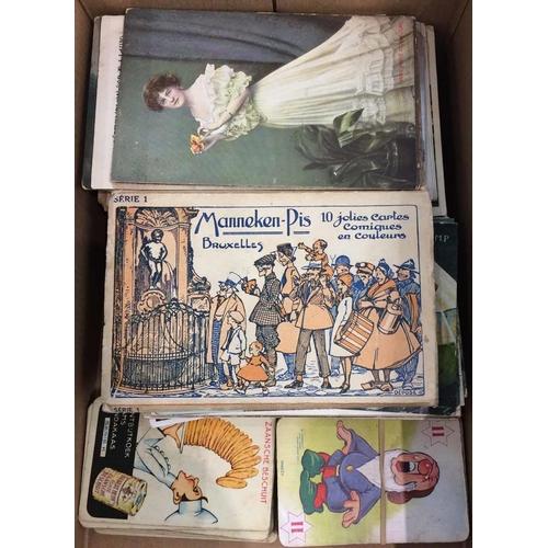 1034 - SHOEBOX - c1910s-60s PPCs, CIGARETTE CARDS ETC - British or European PPCs (c230), env. with accumula...