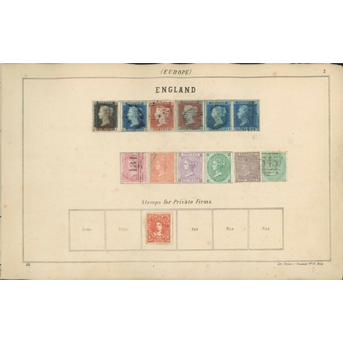 1047 - RARE LALLIER POSTAGE STAMP ALBUM; 1st English ed. (1862) by Justin Lallier (Paris) binding sound tho...