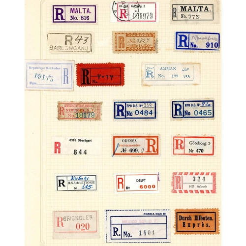 36 - WORLD REGISTRATION LABEL COLLECTION - most countries, early to modern inc. extensive range of GB and...