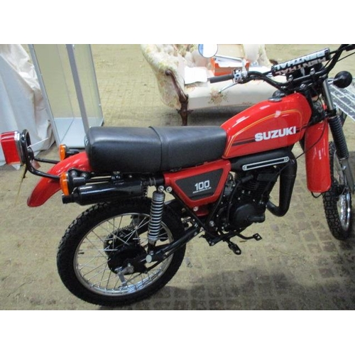 1 - A Suzuki TS 100, registration no. UGM 769S, 1978, chassis number TS1002-105299, 14163 recorded miles...