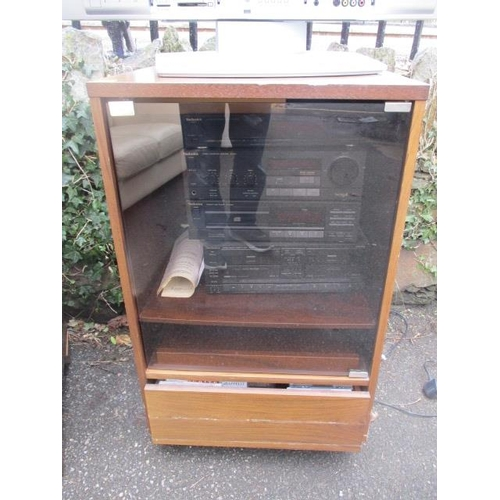 53   A Mahogany Teak Effect Cabinet Containing A Technics Stacking Stereo  System, CDs And