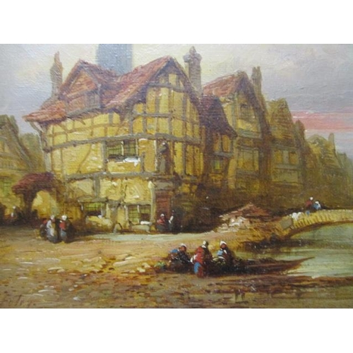 163 - G Foley - a town scene with a river, a bridge and figures, oil on canvas, signed lower left corner, ...