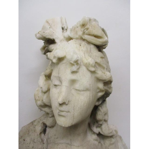 178 - C Gillia - 19th century white marble bust of a woman with a bow in her hair and roses on the front o...